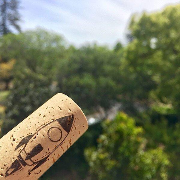 Minimalist Wines Cork With Rocket Ship On It